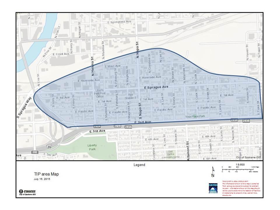 Spokane's 2015 Targeted Investment Pilot Program Boundaries Map